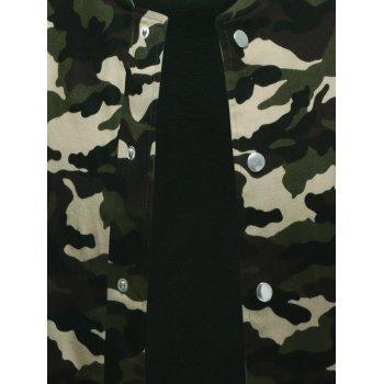 Snap Button Up Rib Cuff Camo Jacket - S S