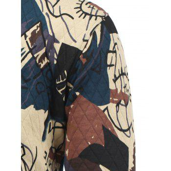 Zip Up Abstract Print Quilted Jacket - L L