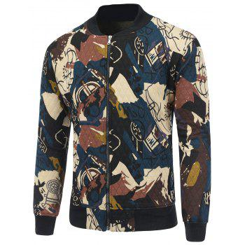 Zip Up Abstract Print Quilted Jacket - CADETBLUE L