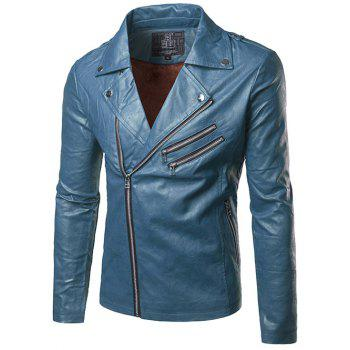 Epaulet Design Multi Zipper Flocking Faux Leather Jacket
