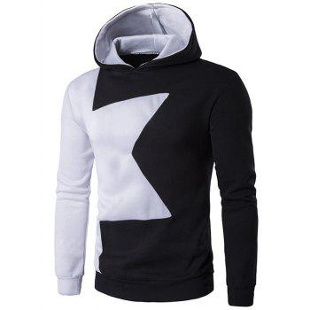 Two Tone Long Sleeve Pullover Hoodie - BLACK L
