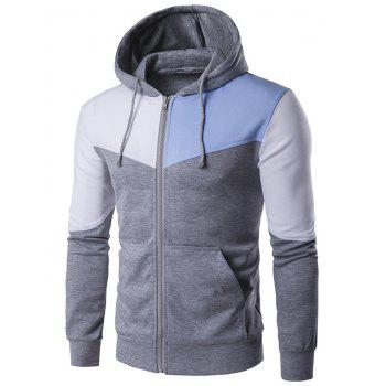 Pocket Contrast Panel Zip Up Hoodie - LIGHT GRAY LIGHT GRAY