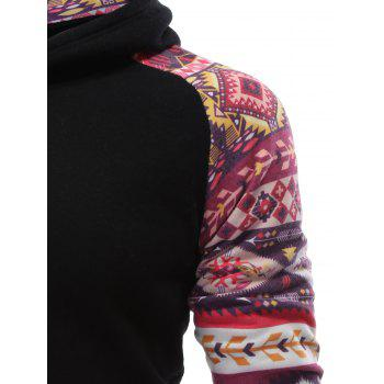 Raglan Sleeve Pocket Tribal Print Panel Hoodie - M M