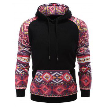 Raglan Sleeve Pocket Tribal Print Panel Hoodie - BLACK M