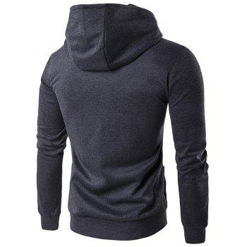 Zippered Pocket Contrast Panel Hoodie - DEEP GRAY DEEP GRAY