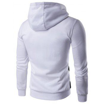 Pocket Contrast Panel Zip Front Hoodie - WHITE WHITE