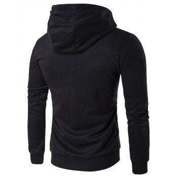 Pocket Contrast Panel Zip Front Hoodie - BLACK BLACK
