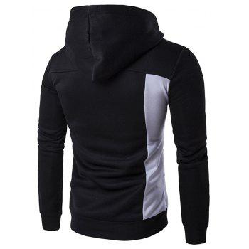 Contrast Panel Long Sleeve Pullover Hoodie - 2XL 2XL