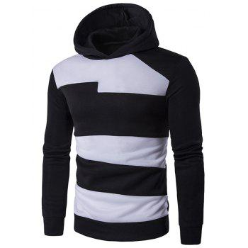 Contrast Panel Long Sleeve Pullover Hoodie - BLACK M