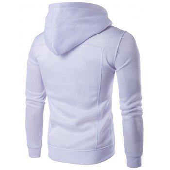 Zip Up Buttoned Pleat Hoodie - WHITE WHITE