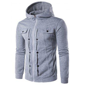 Zip Up Buttoned Pleat Hoodie - LIGHT GRAY LIGHT GRAY