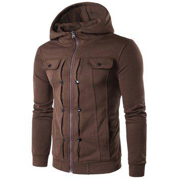 Zip Up Buttoned Pleat Hoodie - COFFEE 2XL