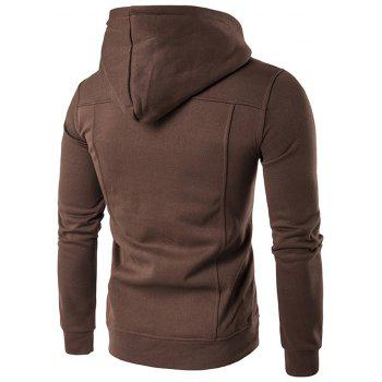 Zip Up Buttoned Pleat Hoodie - M M
