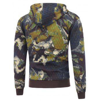 Zip Up Printed Pocket Quilted Hoodie - M M
