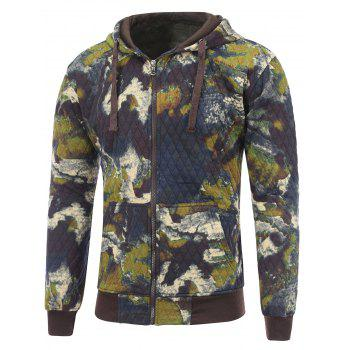 Zip Up Printed Pocket Quilted Hoodie - DEEP BLUE M
