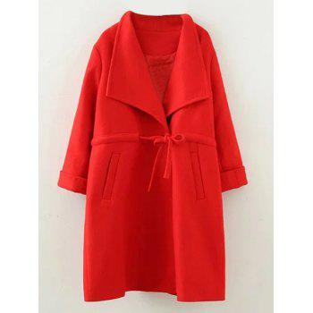 Plus Size Drawstring Wool Blend Long Coat