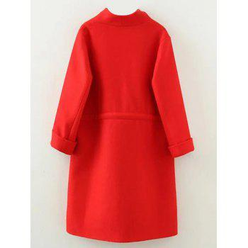 Plus Size Drawstring Wool Blend Long Coat - RED RED