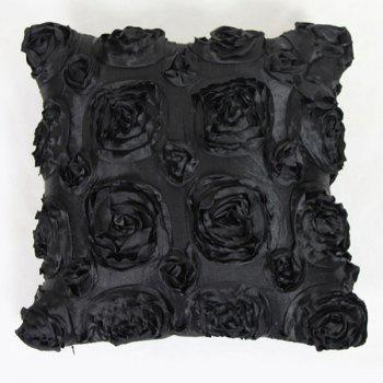 Sweet Home Decoration 3D Roses Back Cushion Pillow Case - BLACK BLACK