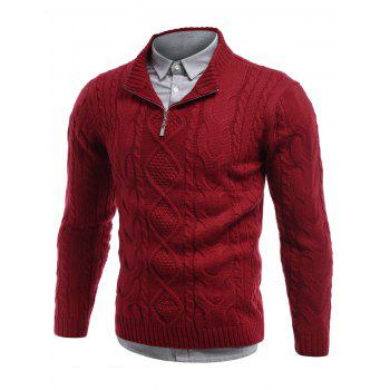 Buy Stand Collar Cable Knit Half Zip Sweater RED