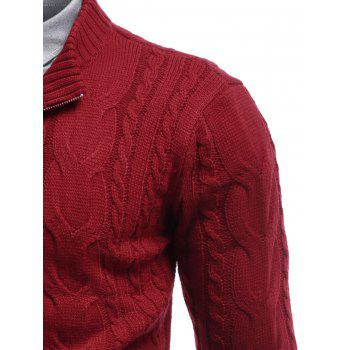 Stand Collar Cable Knit Half Zip Sweater - RED RED