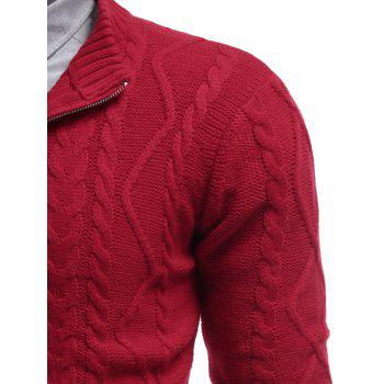 Cable Knit Half Zip Pullover Sweater - RED L
