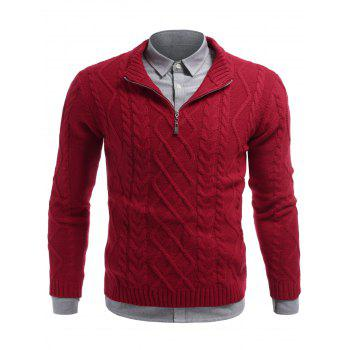 Cable Knit Half Zip Pullover Sweater - M M