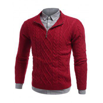 Cable Knit Half Zip Pullover Sweater - RED M