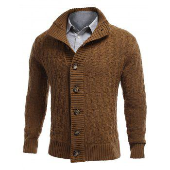 Button Front Stand Collar Basket Weave Cardigan