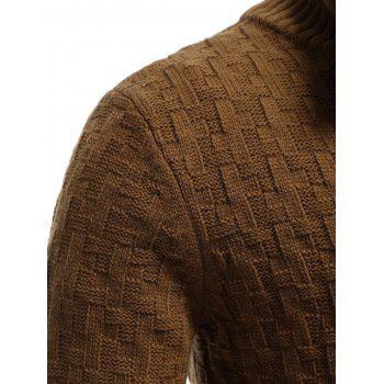 Button Front Stand Collar Basket Weave Cardigan - EARTHY EARTHY