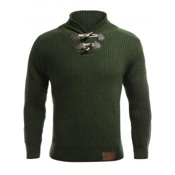 Long Sleeve Flat Knitted Toggle Sweater - M M