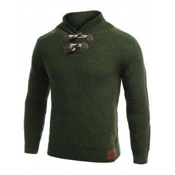 Long Sleeve Flat Knitted Toggle Sweater - GREEN M