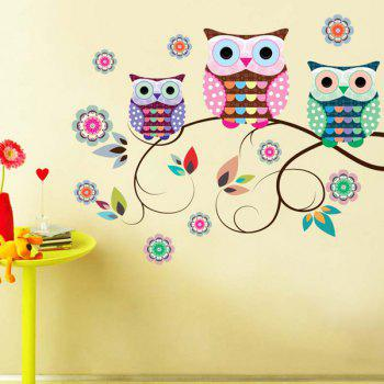 Cartoon Owls Refrigerator Wall Stickers - COLORFUL