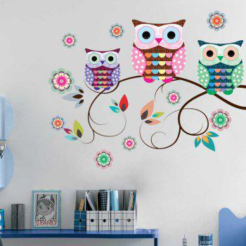 Cartoon Owls Refrigerator Wall Stickers - COLORFUL COLORFUL