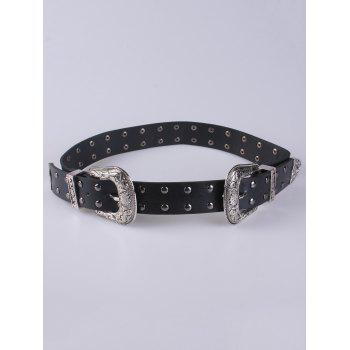 PU Rivet Double Buckle Belt