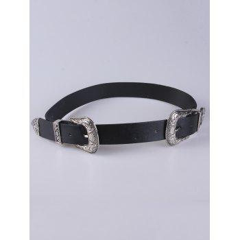 PU Embellished Double Buckle Belt