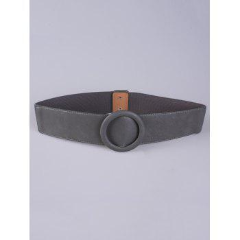 Round Buckle PU Stretch Belt