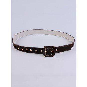 Square Shape Buckle Velvet Belt
