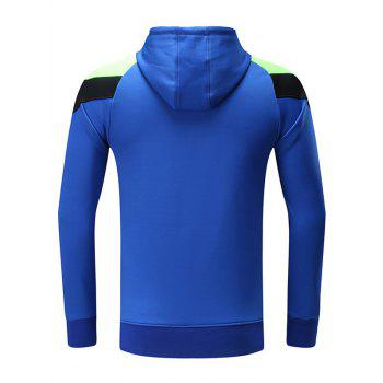 Color Block Spliced Raglan Sleeve X Graphic Sports Hoodie - ROYAL ROYAL