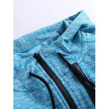 Zipper Design Raglan Sleeve X Graphic Sports Hoodie - BLUE BLUE