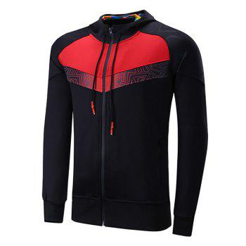 Zipper Design Raglan Sleeve Color Block Spliced Sports Hoodie