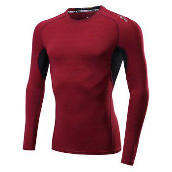 Buy Color Block Splicing Raglan Sleeve Quick Dry Fitness T-Shirt RED