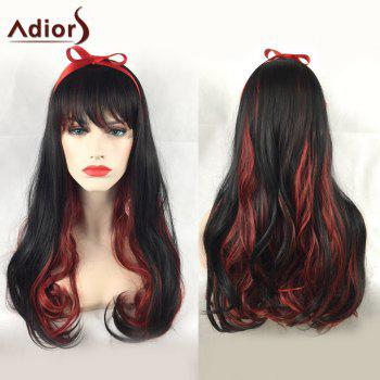 Adiors Long Side Bang Wavy Party Double Color Synthetic Wig