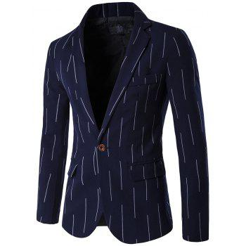 Vertical Striped Lapel One Button Design Blazer
