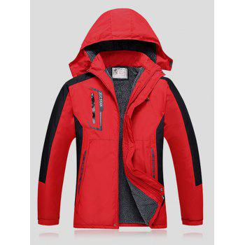 Thicken Detachable Hooded Plus Size Color Block Polyester Jacket