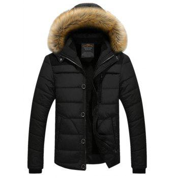 Plus Size Faux Fur Collar Hooded Zip Up Thicken Quilted Jacket