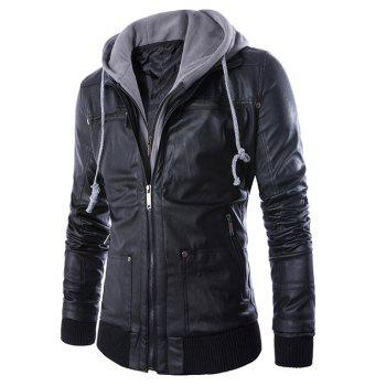 Hooded Faux Twinset Double Zipper PU Leather Jacket