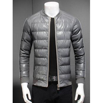 Striped Selvedge Embellished Stand Collar Zip Up Down Jacket