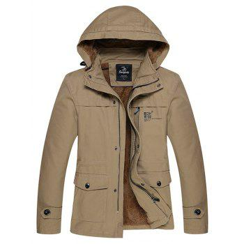 Thicken Detachable Hooded Zip Up Flocking Jacket