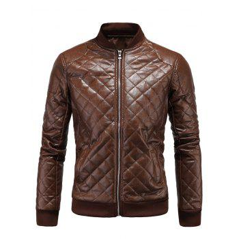 Argyle Stand Collar Zip Up PU Leather Jacket