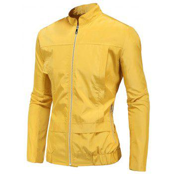 Zip Up Stand Collar Polyester Windbreaker Jacket